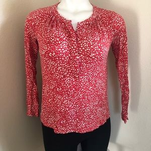 boden red abstract polka dot blouse sz.8